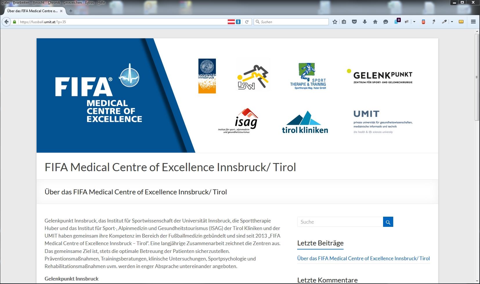 FIFA Medical Centre of Excellence Innsbruck